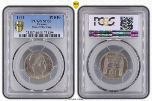 M4550 Rare 10 Francs Turin Essai 1945 PCGS SP66 FDC +++ Second Finest !!!