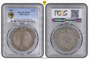 S5470 Rare Italy 5 Franchi Felice Elisa 1805 PCGS XF45 Argent