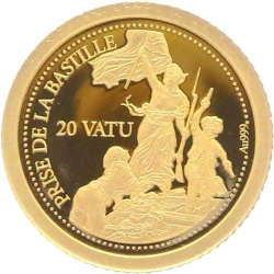 O5006 Vanuatu 20 Vatu Prise Bastille 2014 OR Gold BE PF PROOF