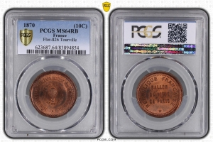 M7633 FINEST 10 Centimes Balloon Essai Siège Paris Tourville 1870 PCGS MS64 GEM