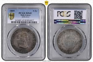 M5469 Rare Italy 5 Franchi Felice Elisa 1805 PCGS XF45 Argent