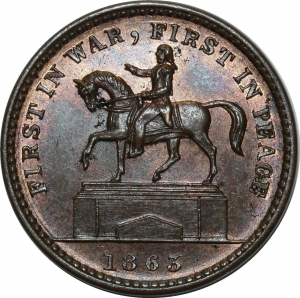 O1078 Scarce USA Token Patriotic cent 1863 Union for ever UNC PCGS MS64 RB