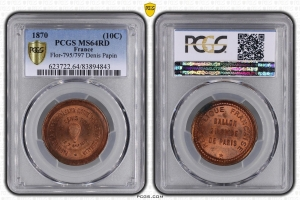 M7651 FINEST 10 Centimes Balloon Essai Siège Paris Denis Papin 1870 PCGS MS64