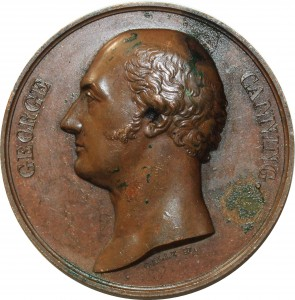 O5494 Scarce Great Britain Medal George Canning Tribute 1827 Baron Desnoyers SPL