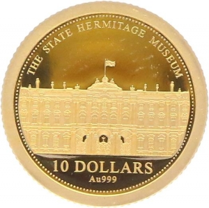 O5002 Salomon Islands10 Dollars Elizabeth II Hermitage Museum 2014 OR Gold BE PF PROOF