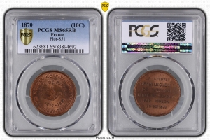 M7652 FINEST 10 Centimes Balloon Essai Siège Paris Flor-851 1870 PCGS MS65 GEM
