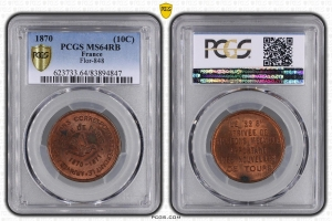 M7656 FINEST 10 Centimes Balloon Essai Siège Paris Flor-848 1870 PCGS MS64 GEM