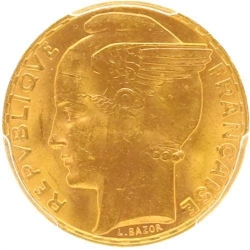 AA33 100 Francs Or GOLD Bazor 1935 PCGS MS64
