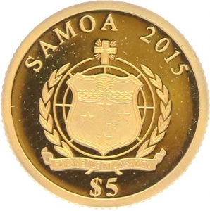 O4997 Samoa 5 Dollars Carnaval Rio 2015 OR Gold BE PF PROOF