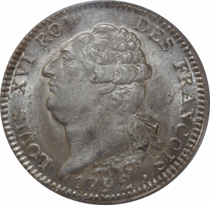 M4578 RARISSIME Ecu Louis XVI 1792 A Paris PCGS MS64 Argent Silver Second Finest