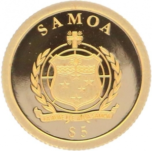 O5000 Samoa 5 Dollars Moon Landing 1969 2013 OR Gold BE PF PROOF