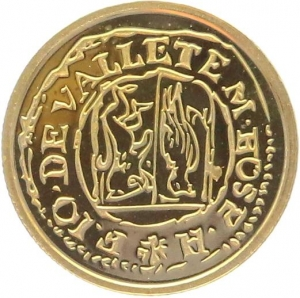 O4974 Malta 5 Euros Jean de la Vallete Picciolo 2013 OR Gold BE PF PROOF