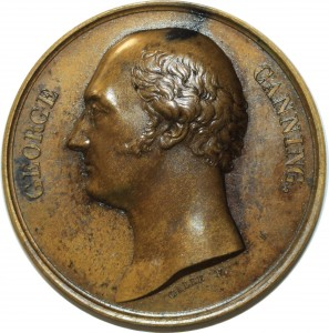 O5487 Scarce Great Britain Medal George Canning Tribute 1827 Baron Desnoyers SPL