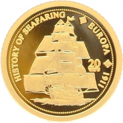 O5008 Vanuatu 20 Vatu 1911 History Seafaring 2008 OR Gold BE PF PROOF