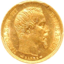 L2905 FINEST KNOWN 10 Francs Or Gold Napoléon III 1854 A PCGS MS63
