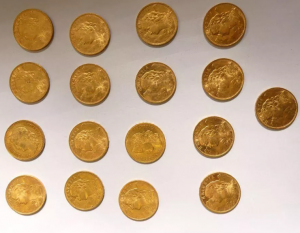 17 coins of  20 Swiss Francs gold, very nice condition