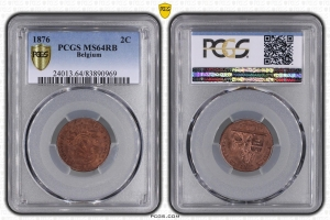 M7713 Belgium 2 Centimes 1876 PCGS MS64 RB FDC !!!