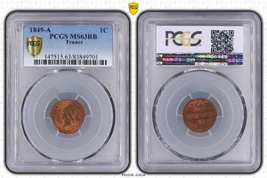 M7931 RARE 1 Centime 1849 A Paris PCGS MS63 RB SPLENDIDE