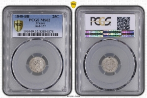 M7899 RARISSIME 25 Centimes Louis Philippe I 1848 BB Strasbourg PCGS MS62 Argent