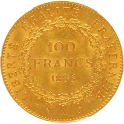 AA43 100 Francs Or Gold Génie 1886 A Paris PCGS MS63