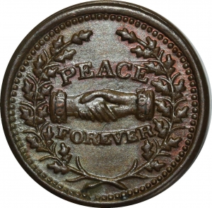 O1079 Scarce USA Token Patriotic cent 1863 Peace for ever PCGS MS63 !!!