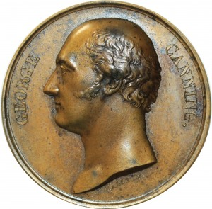 O5496 Scarce Great Britain Medal George Canning Tribute 1827 Baron Desnoyers SPL