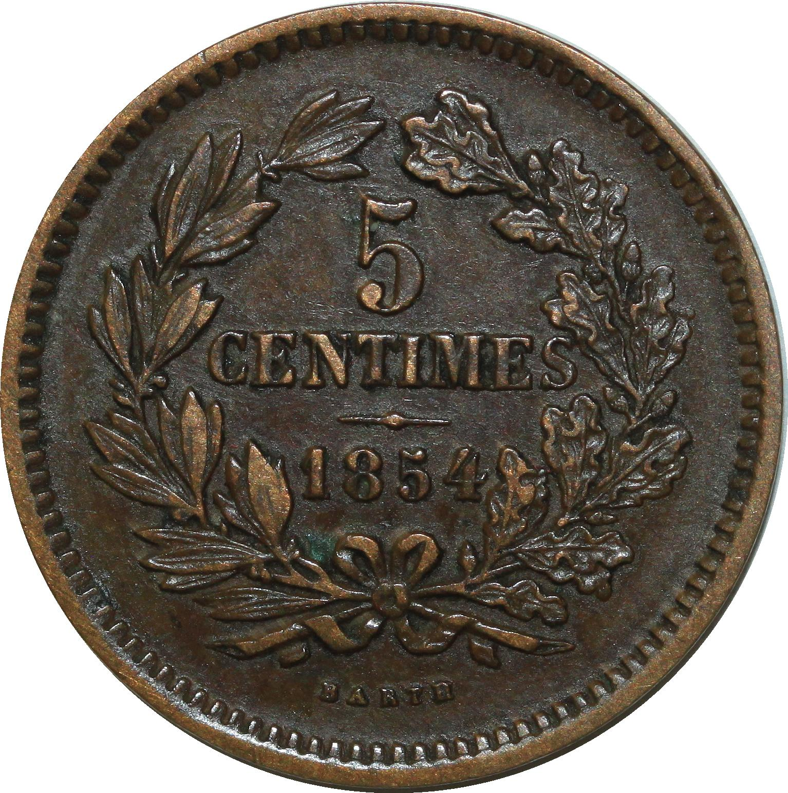 O6835 Luxemburg 5 Centimes 1854 Barth Quality ->Make offer