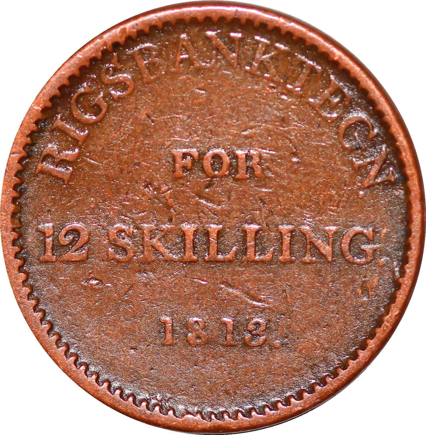 O9947 Denmark 12 Skilling Frederik VI Rigsbank Token 1813 -> Make offer
